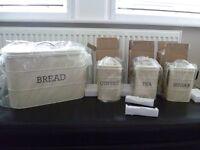 Kitchen Craft Living Nostalgia Metal Tea, Coffee & Sugar Canisters & Bread Bin - BRAND NEW