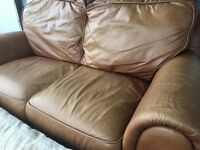 REAL TAN LEATHER SOFA VERY COMFY LIGHT BROWN