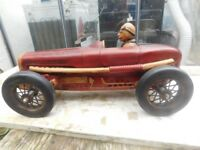 LARGE RARE VINTAGE RACING CAR & DRIVER CARVED FROM WOOD