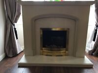 fireplace with electric fire and marble hearth-good condition