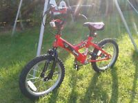 Red 'Sonic Boom' child's bike, very good condition.