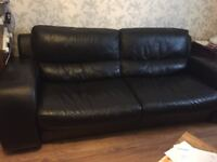 Black real leather sofa