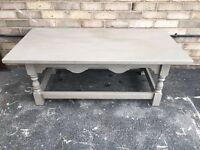 COFFEE TABLE PAINTED FRENCH GREY SOLID WOOD FRENCH FARMHOUSE STYLE