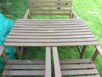 Wood stained garden patio set.