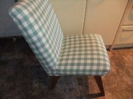 comfy chair in sage/cream check