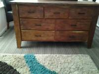 7 drawer Bevelled Mango Sideboard