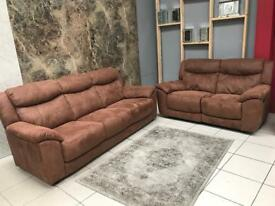 FURNITURE VILLAGE 3 SEATER + 2 SEATER - BROWN SADDLE SUEDE FABRIC | SOFA SETTE COUCH MANUAL RECLINER