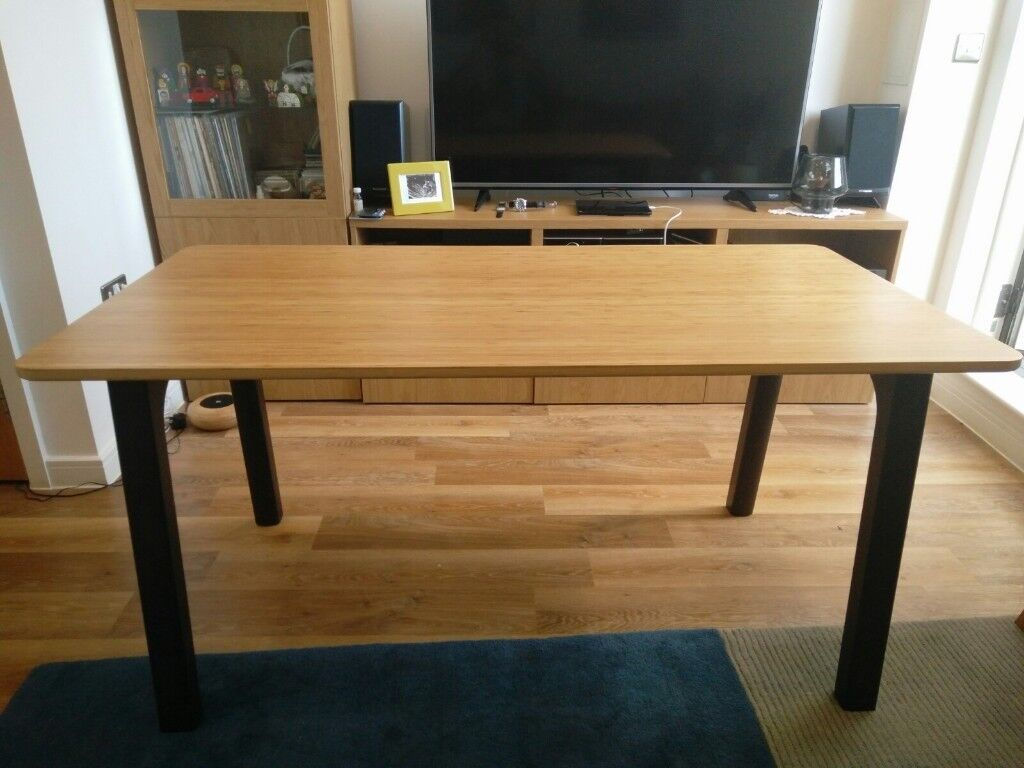 Table Ikea Bamboo Dark Brown 150x78 Cm In