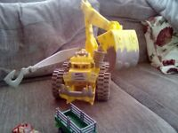 FANTASTIC LARGE TOY YELLOW,DIGGER ANE SMALL RED CAR AND SMALL TRAILER
