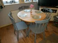 Shabby chic solid pine table and chairs
