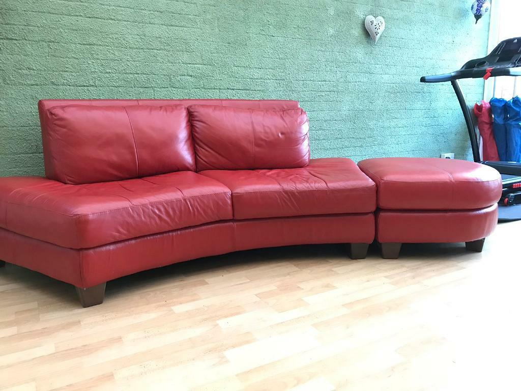Red Leather Curved Sofa Plus Large Footstool In Dersingham