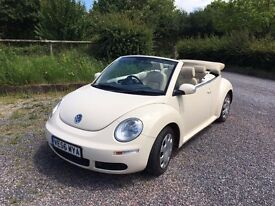 Cream Volkswagen Beetle Convertible (Cabriolet) 2007 cream leather interior, Diesel 1.9 TDI