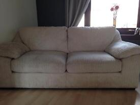 3+2 seater soft cord cream sofas