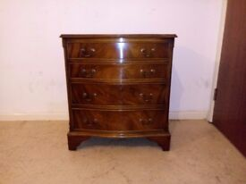 Bow Fronted Chest of Drawers Bedside 4 Drawers Mahogany Vintage Furniture