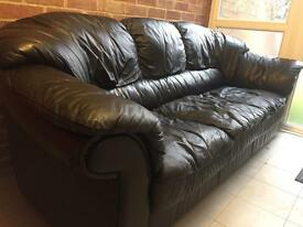 Black sofa leather