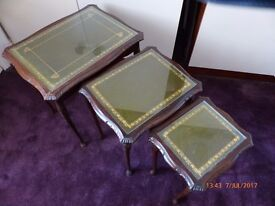 Nest of 3 Wood / Glass Tables