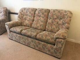 G plan 3 seater sofa and 2 arm chairs and footstool - with fire label
