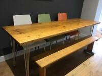 Scaffold table, school bench and chairs
