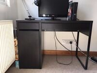 Small black desk with cupboard and two drawers - great condition