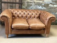 Tan ex-display John Lewis Semi Aniline Leather CHESTERFIELD BUTTONED 2 Seater SOFA
