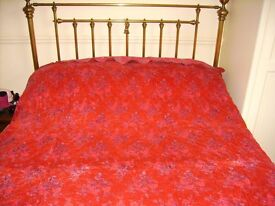 Bedspread - red / pink flower hand quilted bedspread for double bed - perfect condition