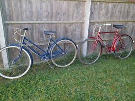 Two Vintage bicycles Elswick Raleigh