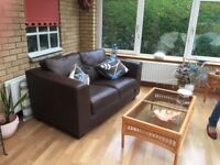 Two seater Leather settees, dark brown, perfect condition