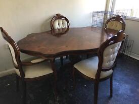 Italian wood table excellent condition and 6 matching chairs