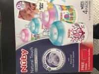 4x Nuby anti colic bottles in as new condition