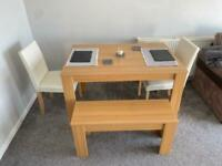 Oak effect dining table, faux leather chairs and wooden bench