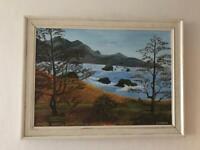 Beautiful original oil painting seascape landscape Scotland
