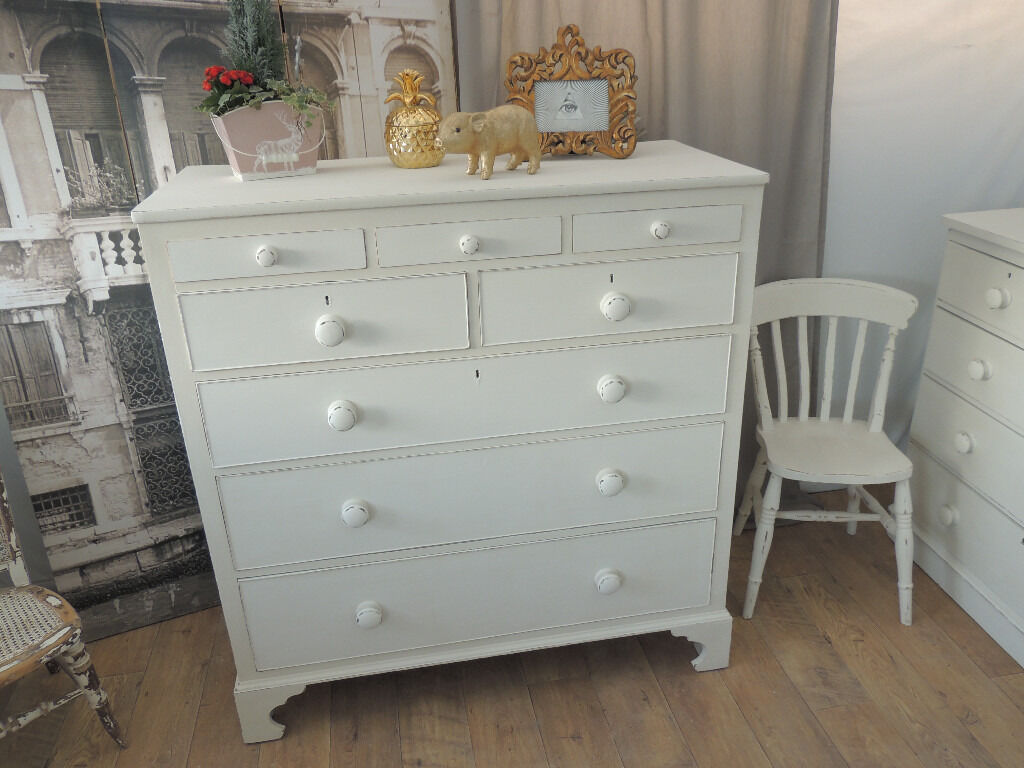 Large shabby chic antique Edwardian chest of drawers