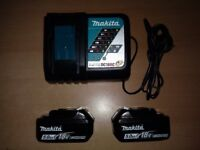 2 X MAKITA GENUINE BATTERIES & CHARGER & £100 WORTH OF DRILL BITS BRAND NEW
