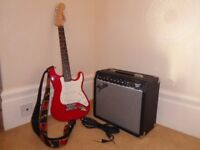 Red Fender Squier Mini Stratocaster 3/4 Size Electric Guitar & Fender Amp