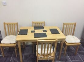 Kitchen Dining Room Table - 4 chairs with cushions- Granite place matts
