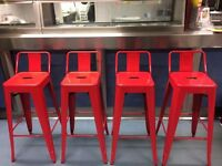 Vintage Retro Bar Stools - Red Metal Sturdy and Strong