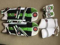 Cricket thigh pads, gloves and pads