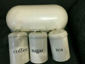 Bread bin and tea coffee sugar jars