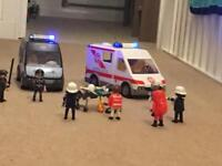 Play Mobil ambulance and Police Van with figures