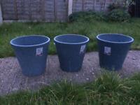 Blue terracotta garden plant pots