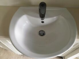 Small Vanity unit, inset sink, tap and stone top