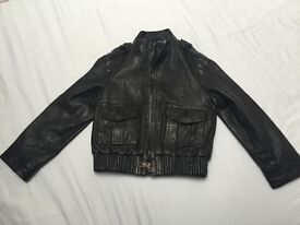 Burberry black leather jacket 6 yrs