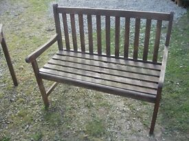 BROWN WOODEN GARDEN BENCH. SITS 2-3. (7 AVAILABLE).VIEW/DELIVERY AVAILABLE