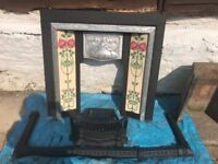 Fire place with art neuvou tiles Inset. The Inset is polished steel and is in good condition.