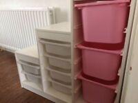 Ikea storage unit with tubs