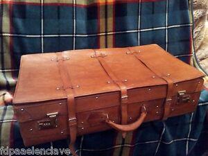 Maleta cuero viaje siglo xx correajes decoraci n vehiculo - Comprar maletas antiguas decoracion ...