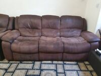 2x Harveys 3Seat Brown Suede Recliners.Deep seat.Metal.1 seat recliner.7Seats
