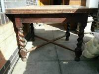 Abtique oak extendable dining room table with barley twist legd great upcycling / shabby chic