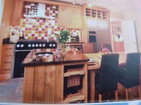 Large Bespoke Inframe Pippy Oak Kitchen units