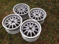 "RH 15"" 4x108 7j alloy wheels. Deep dish. Classic original. Not bbs, borbet, lenso, brabus tm"